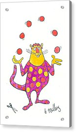 Creature Juggling Polka Dots Acrylic Print by Barry Nelles Art