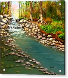 Acrylic Print featuring the painting Creek In The Spring by Sena Wilson