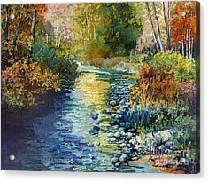 Acrylic Print featuring the painting Creekside Tranquility by Hailey E Herrera
