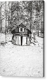 Creepy Winter Cabin In The Woods Acrylic Print by Edward Fielding