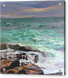 Creevy Storm 3, Waves Spill Over The Rocks Acrylic Print by Kevin Lowery