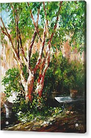 Acrylic Print featuring the painting crepe myrtle SOLD by Gloria Turner