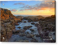 Acrylic Print featuring the photograph Crescent Bay Tide Pools At Sunset by Eddie Yerkish