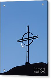 Crescent Moon And Cross Acrylic Print