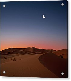Crescent Moon Over Dunes Acrylic Print by Photo by John Quintero