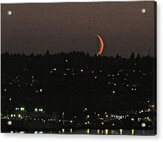 Acrylic Print featuring the photograph Crescent Moonset by Sean Griffin