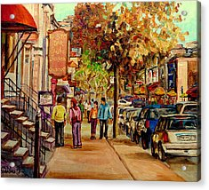 Crescent Street Montreal Acrylic Print by Carole Spandau