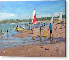 Cricket And Red And White Sail Acrylic Print by Andrew Macara