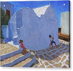 Cricket By The Church Wall, Mykonos  Acrylic Print by Andrew Macara