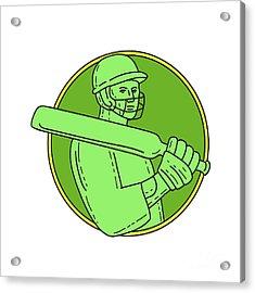 Cricket Player Batsman Circle Mono Line Acrylic Print