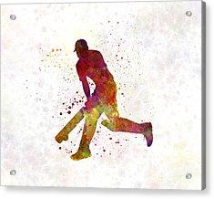 Cricket Player Batsman Silhouette 03 Acrylic Print