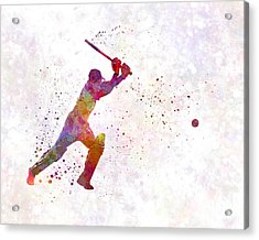 Cricket Player Batsman Silhouette 04 Acrylic Print by Pablo Romero
