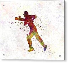 Cricket Player Batsman Silhouette 06 Acrylic Print by Pablo Romero