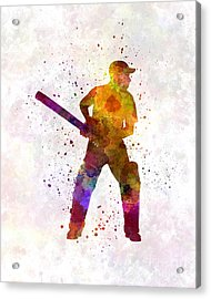 Cricket Player Batsman Silhouette 07 Acrylic Print