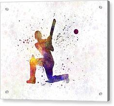 Cricket Player Batsman Silhouette 08 Acrylic Print by Pablo Romero