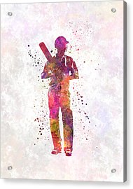 Cricket Player Batsman Silhouette 10 Acrylic Print