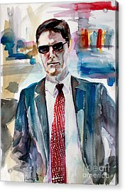 Acrylic Print featuring the painting Criminal Minds Aaron Hotchner The Way I See Him by Ginette Callaway