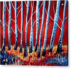 Crimson Birch Trees Acrylic Print by Elizabeth Robinette Tyndall