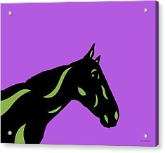 Crimson - Pop Art Horse - Black, Greenery, Purple Acrylic Print