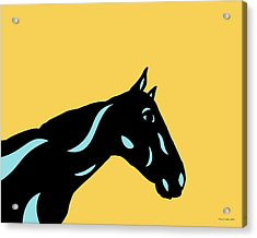 Crimson - Pop Art Horse - Black, Island Paradise Blue, Primrose Yellow Acrylic Print