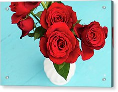 Crimson Roses Acrylic Print by Happy Home Artistry