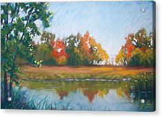 Crisp Autumn Morning Spears Woods Acrylic Print by Christine Camp