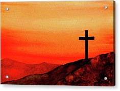 Cross At Sunset Acrylic Print by Michael Vigliotti