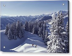Cross-country Skiing In Aspen, Colorado Acrylic Print by Annie Griffiths