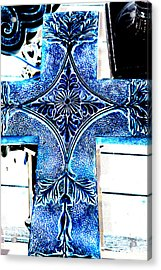 Cross In Blue Acrylic Print