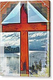 Cross Window Lake View  Acrylic Print