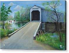 Acrylic Print featuring the painting Crossing At The Covered Bridge by Oz Freedgood