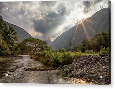 Acrylic Print featuring the photograph Crossing Hiilawe Stream by Susan Rissi Tregoning