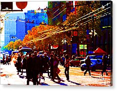 Crossing Market Street . Photo Artwork Acrylic Print by Wingsdomain Art and Photography