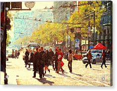 Crossing San Francisco Market Street Acrylic Print by Wingsdomain Art and Photography