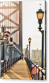 Crossing The Benjamin Franklin Bridge Acrylic Print