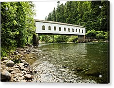 Crossing The Mckenzie River Acrylic Print