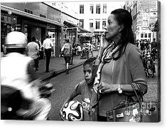 Crossing The Street Mono Acrylic Print by John Rizzuto