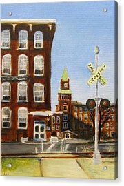 Acrylic Print featuring the painting Crossing The Tracks by Linda Feinberg