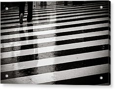 Crosswalk In Rain Acrylic Print by photo by Jason Weddington