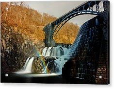 Croton Dam Rainbow Spray Acrylic Print