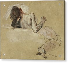 Crouching Woman Acrylic Print by Ferdinand Victor Eugene Delacroix