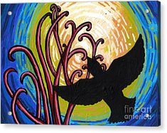 Crow And Full Moon In Winter Acrylic Print by Genevieve Esson