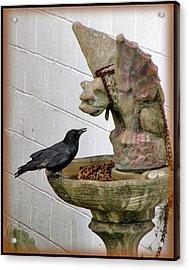 Crow Conversing With Gargoyle Acrylic Print by Keith Naquin