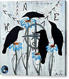 Crow Flowers Acrylic Print