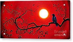 Crow In Crimson Sunset Acrylic Print by Laura Iverson