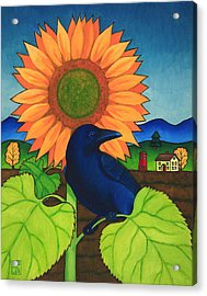 Crow In The Garden Acrylic Print