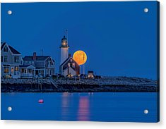 Crow Moon Over Old Scituate Light Acrylic Print