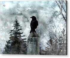 Crow On A Obelisk In Winter Acrylic Print
