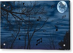 Crow Sings At Midnight Acrylic Print by Evelyn Patrick