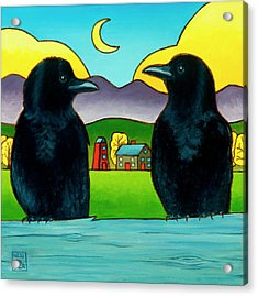 Crow Tales Acrylic Print by Stacey Neumiller